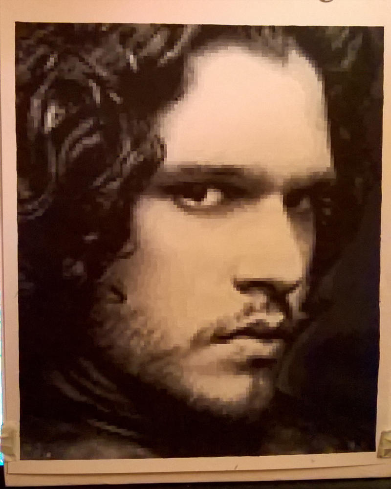 Kit Harington pixel painting by leb82