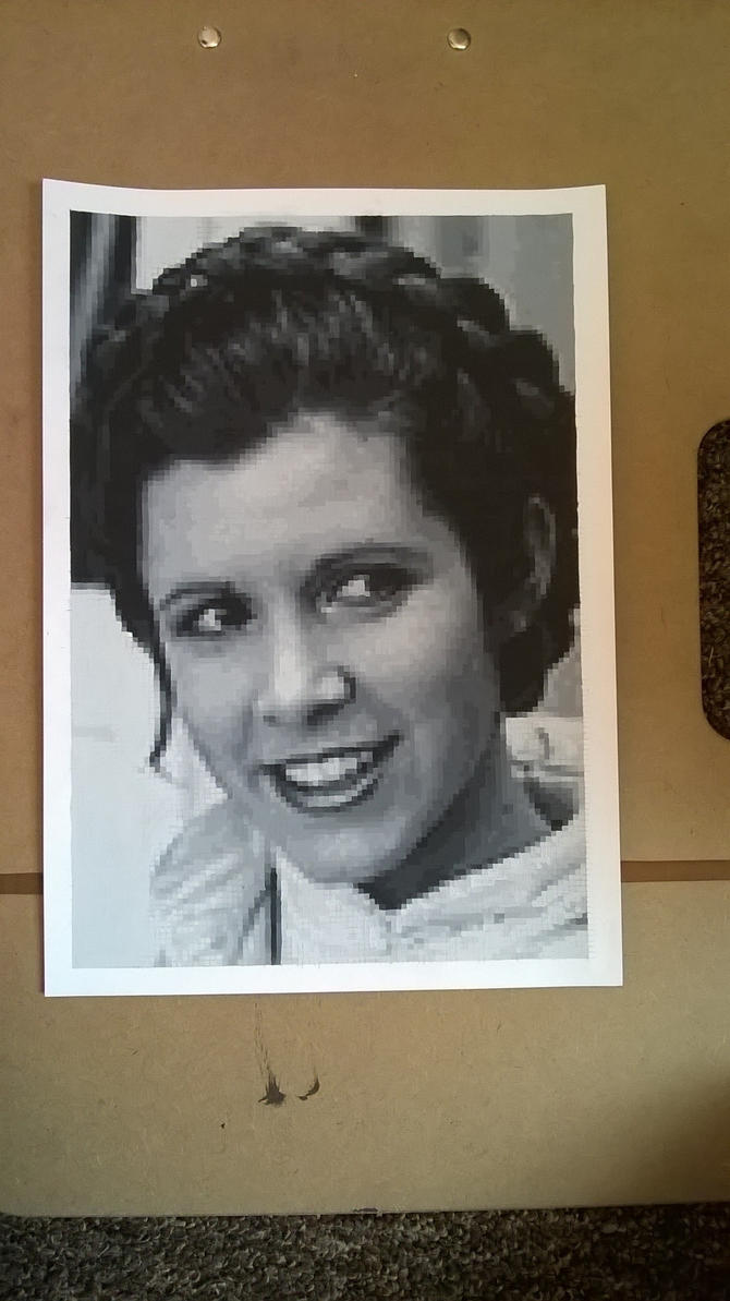 Carrie Fisher pixel painting by leb82