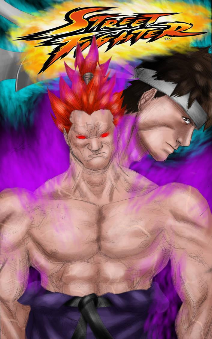 Street Fighter Ryu Vs Akuma By Francosj12 On Deviantart