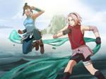 Korra vs Sakura by francosj12