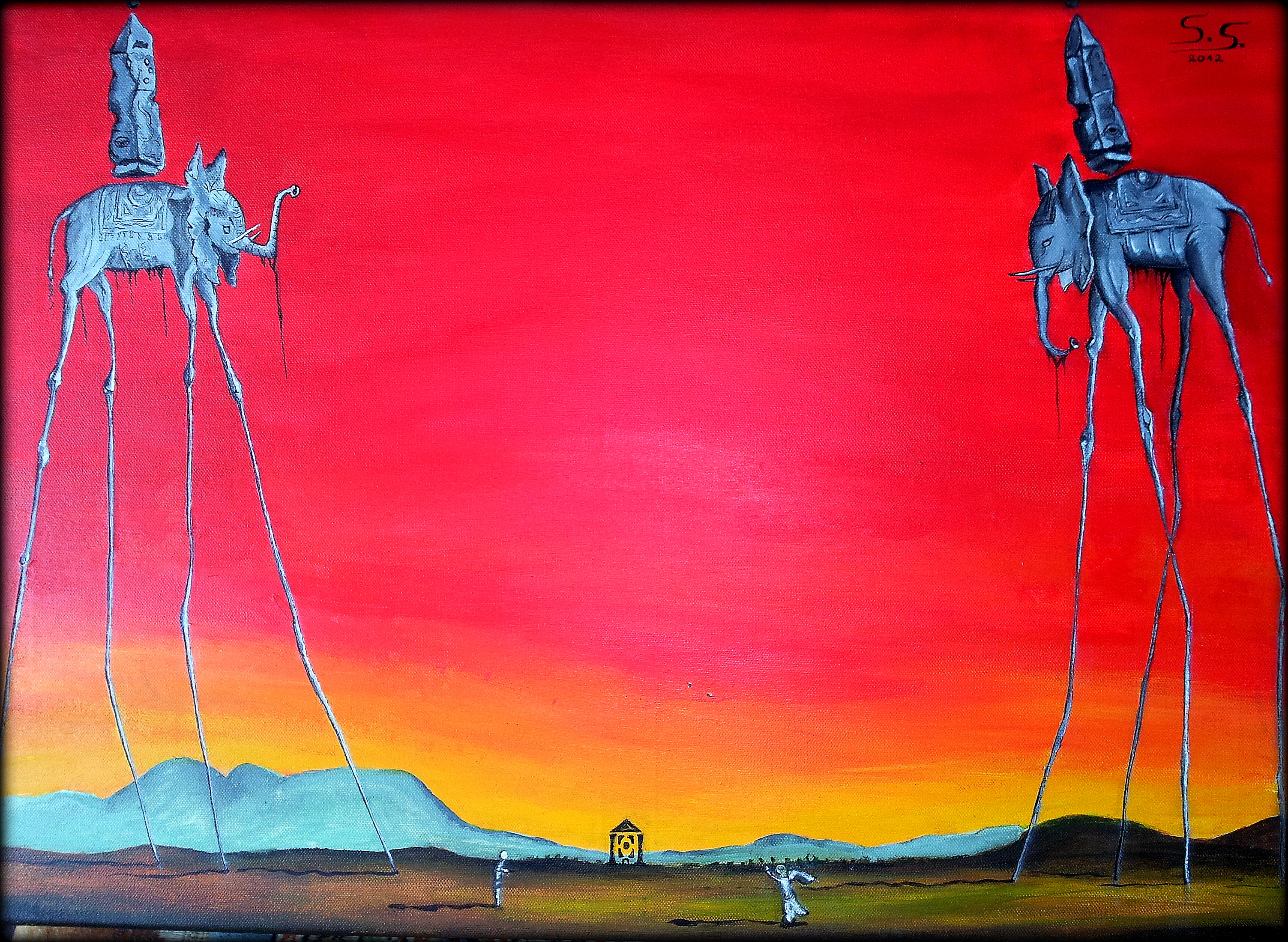 The Elephants by Dali - New Edition by Oil-Bac on DeviantArt