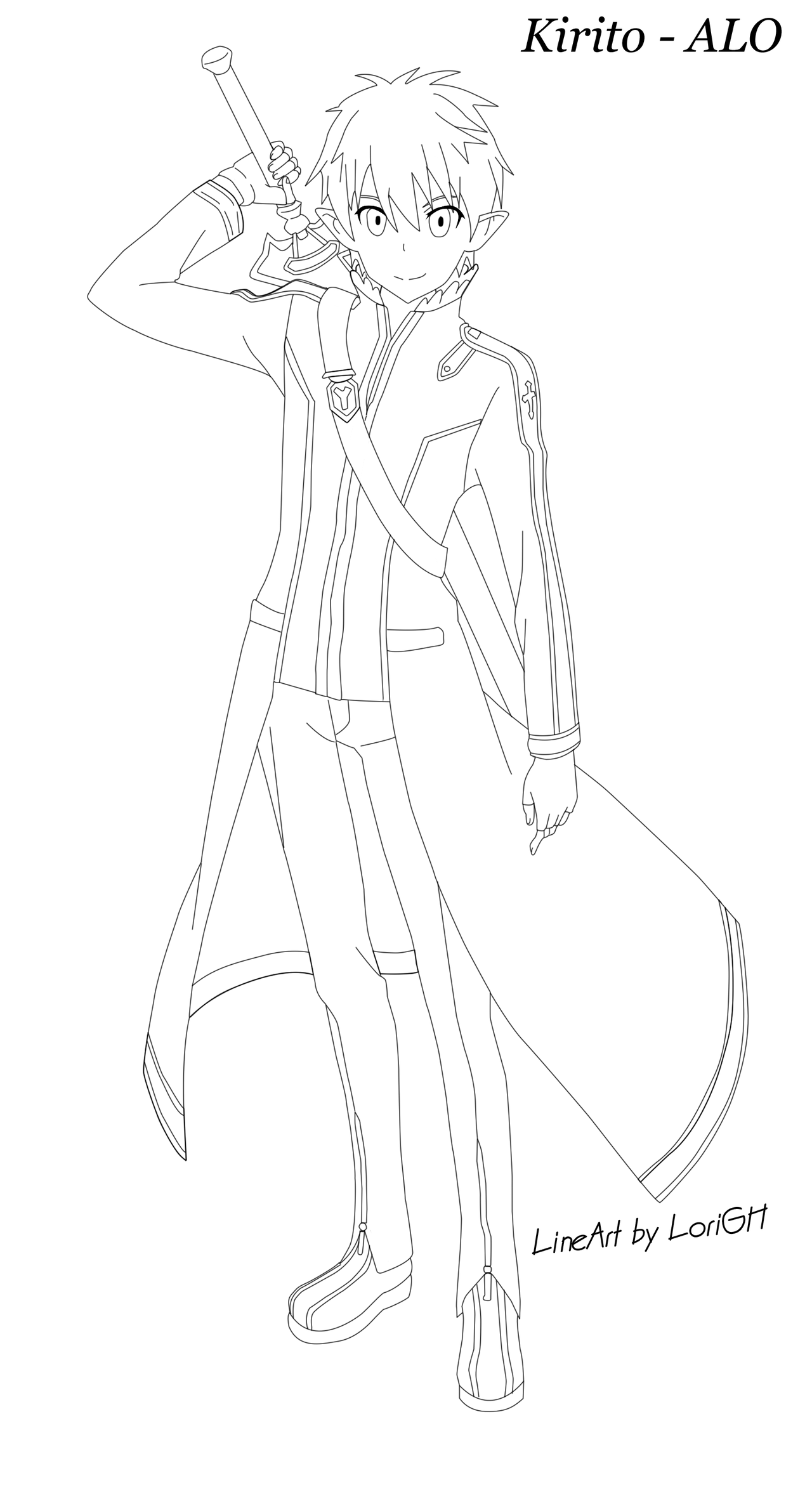 Kirito Lineart : Lineart kirito alo season by lorigh on deviantart