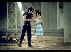 Looking in sky-blue eyes - Zack and Aerith cosplay
