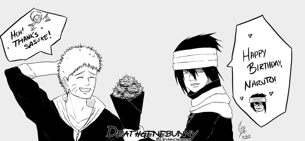 Happy Birthday Naruto 2014 Black And White By