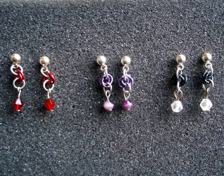 Tiny Rosette Earrings by SilveredGriffin