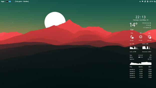 minimalistic Linux Mint desktop