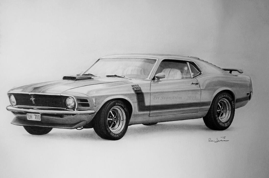 Ford Mustang Boss 302 - Drawing by Per-Svanstrom