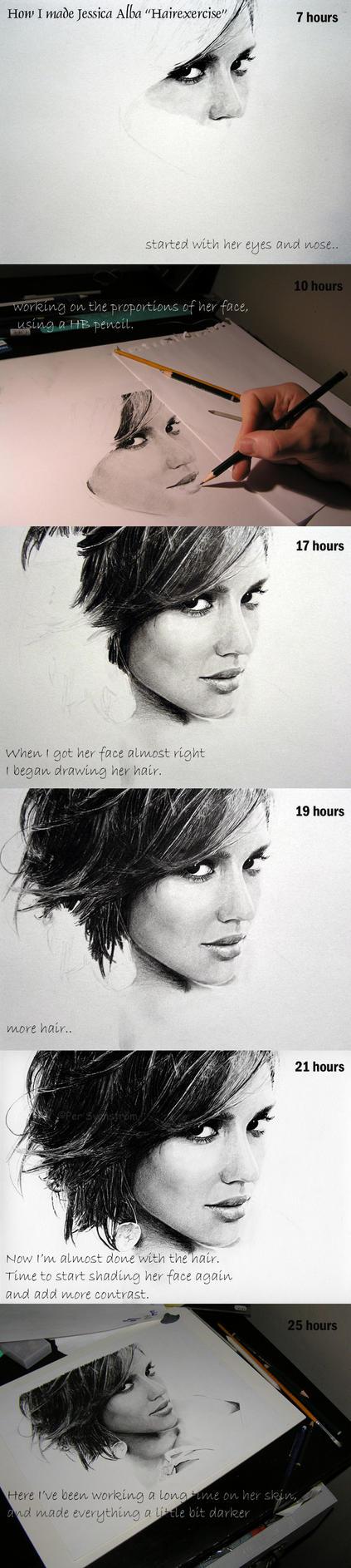 WIP J. Alba 'Hair exercise' by Per-Svanstrom