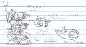 Mech with weapon details by ShizaCoffee
