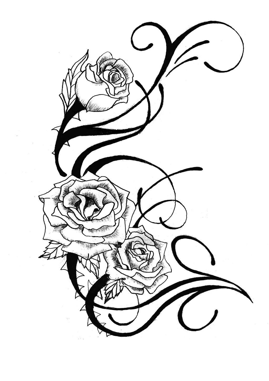 rose tattoo design by csdesigns83 designs interfaces tattoo design    Rose Vine Drawing Tattoo