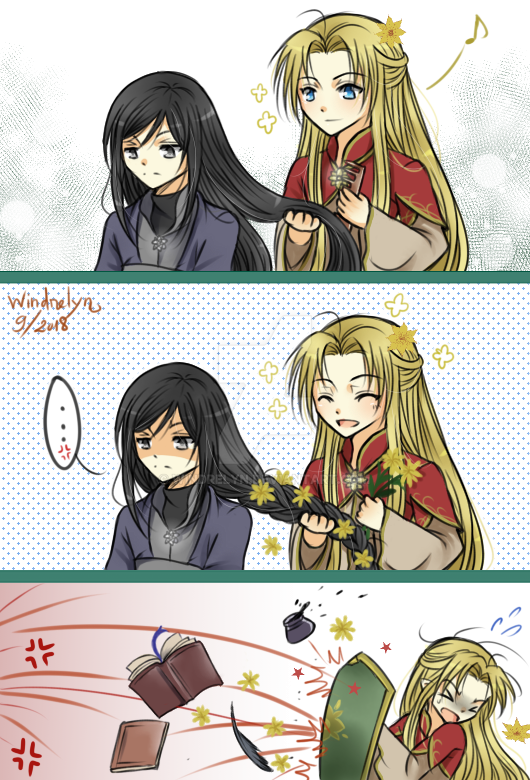 Fixing up hair by Windrelyn
