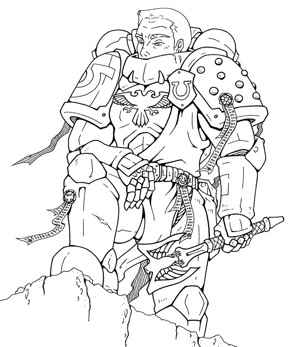 Space marine chaplain practice by koshindou on deviantart for Marine coloring pages