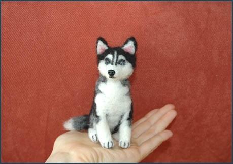 Siberian Husky Mixed With Yorkie Needle felted siberian husky