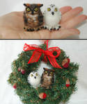 Needle felted Owls ornament