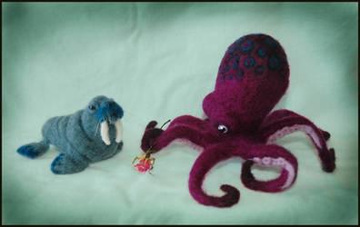 Needle felted Walrus + Octopus