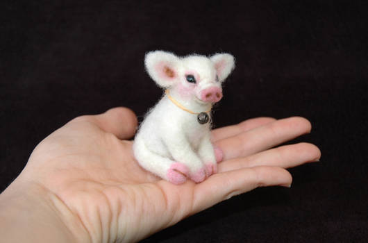 New Baby Piglet. Miniature, Hand Needle Felted.