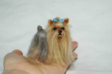 Mini Long Coated Yorkshire Terrier, Needle Felted by amber-rose-creations