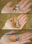 Tiny Needle Felted Bulldog Puppy Dog in a nutshell