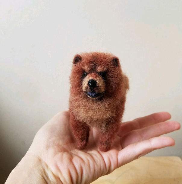 Needle felted Chow chow miniature by amber-rose-creations