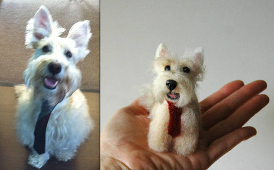 Needle felted Scottish terrier mix portrait