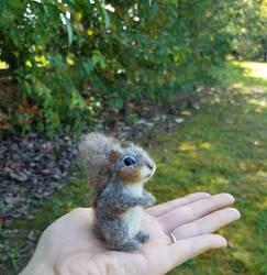 Needle felted Squirrel miniature soft sculpture