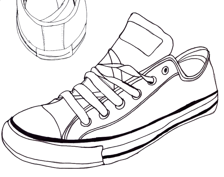 Drawing Of Converse All Star Shoes