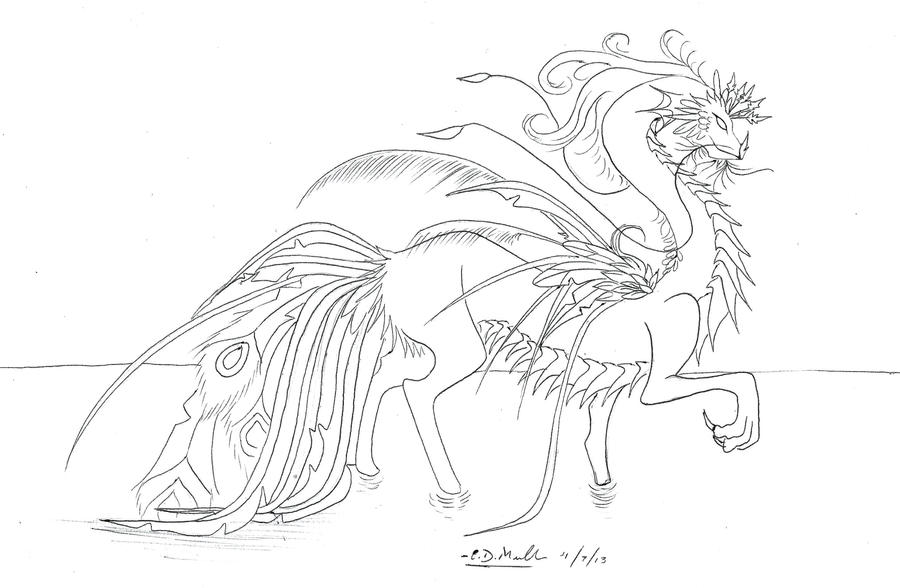 Line Drawing Peacock : Peacock dragon lineart by xrosewaterx on deviantart