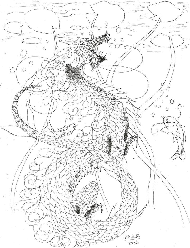 Koi Fish Dragon Art Koi Fish Dragon Lineart by