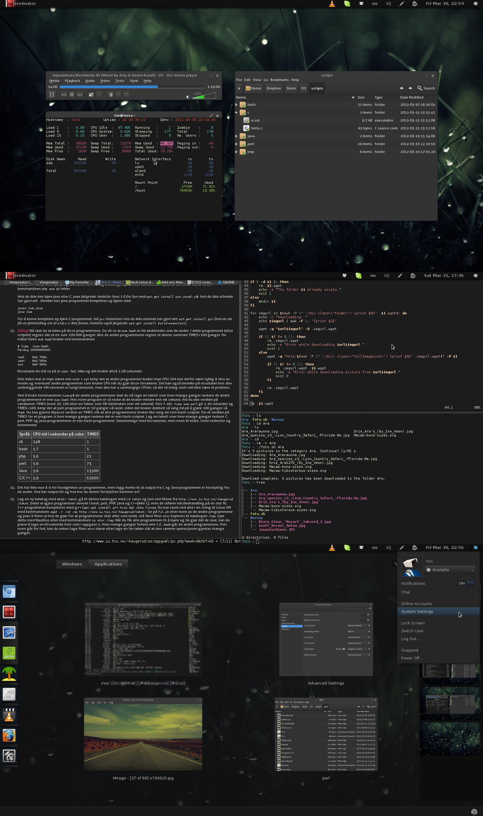 Arch Linux desktop - Gnome 3 Dark by kjeksomanen