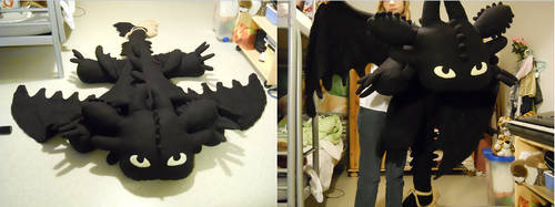 Giant Toothless plushie by HedaMiu