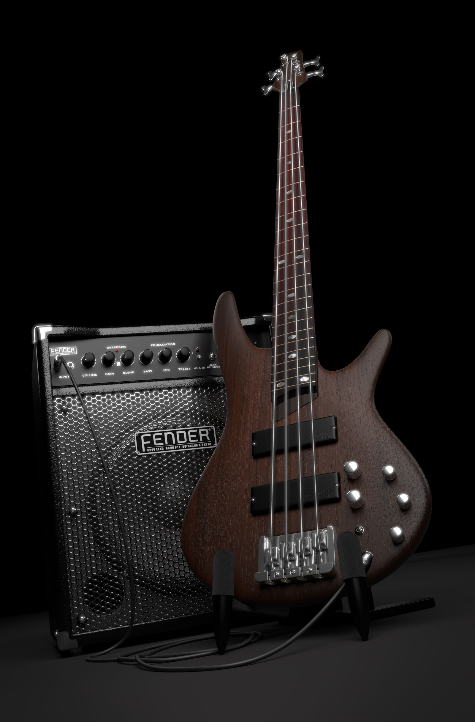 3D Ibanez SR500 + Fender Rumble 30