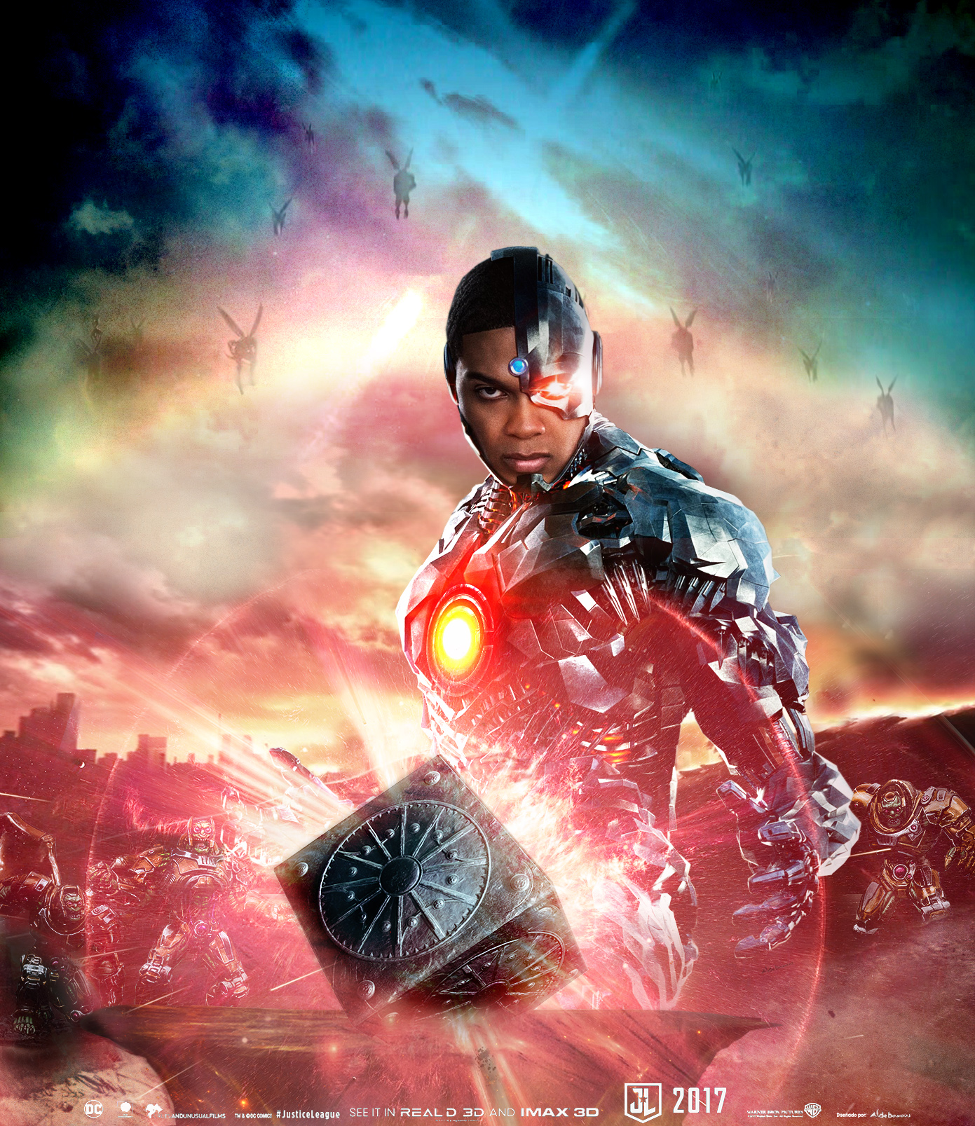 justice league movie poster cyborg by saintaldebaran on