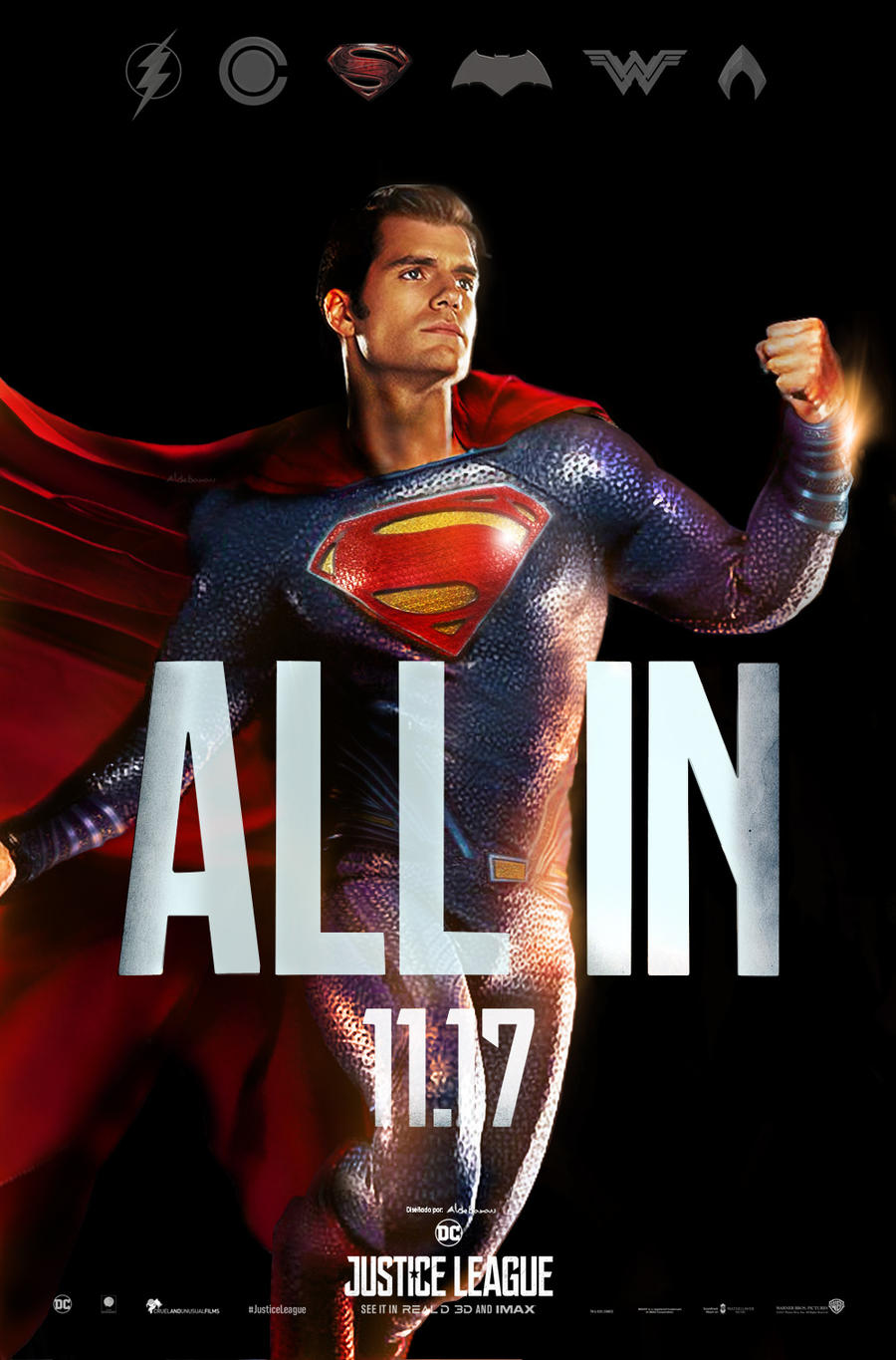 Justice League Movie poster - Superman ALL IN by ...