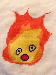 Calcifer Cross Stitch by QuillArtist