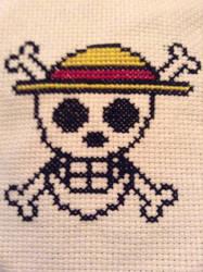 Luffy Flag Cross Stitch by QuillArtist
