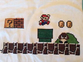 Super Mario Scene Cross Stitch by QuillArtist