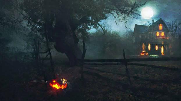 Jack o' Lantern by a creaking gate