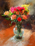 Flowers With Glass Vase
