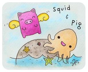 Squid and Pig by LoRi-La-Tortuga