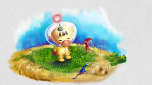 Olimar checking out some Pikmin
