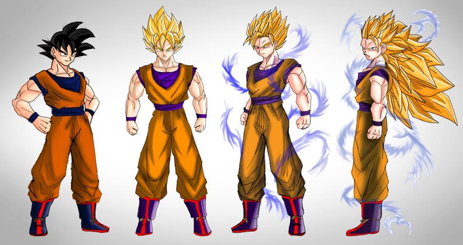 Goku ssj stages by dskemmanuel on deviantart - Sangoku super sayen 2 ...