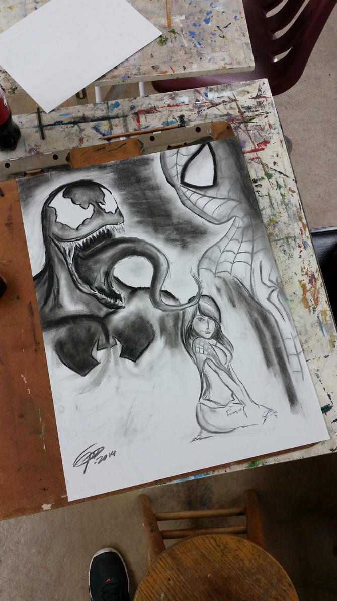 Venom, Spidey, MJ | Charcoal by jmnettlesjr