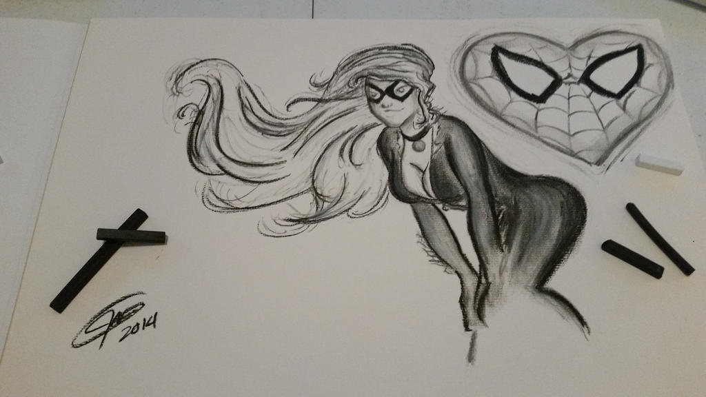 marvel blackcat charcoal sketch by jmnettlesjr