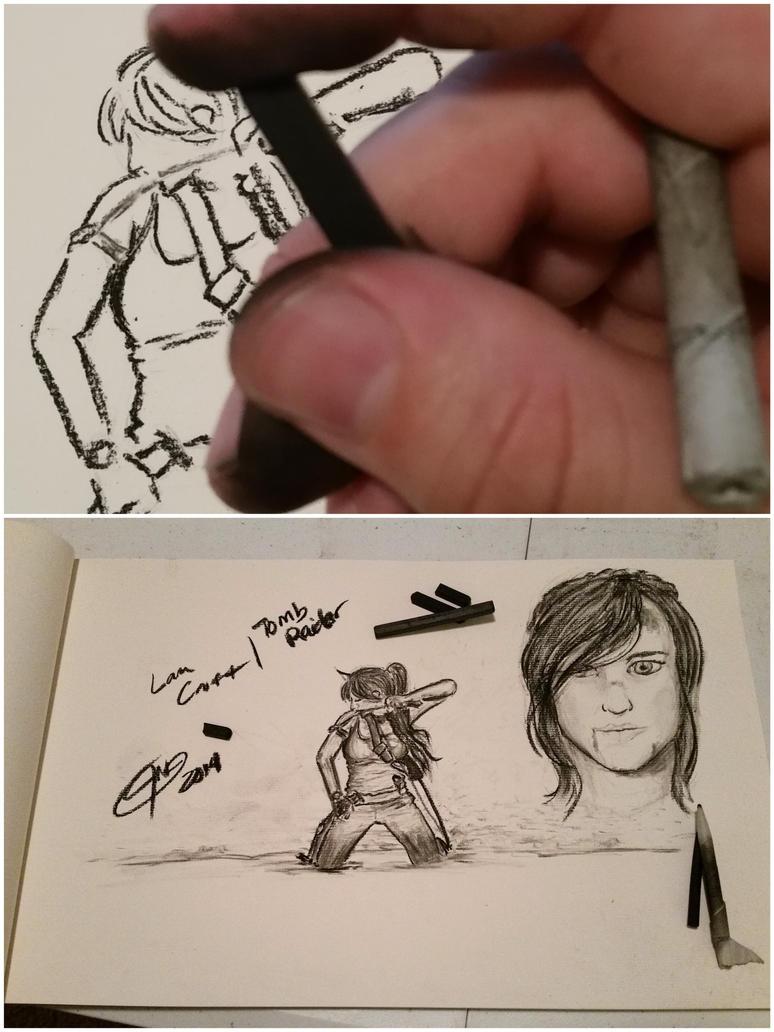 Lara Croft Charcoal sketches by jmnettlesjr