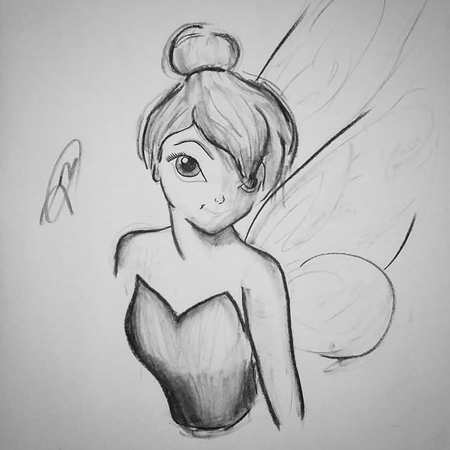 Tinkerbell sketch 2 | charcoal 18X24 by jmnettlesjr