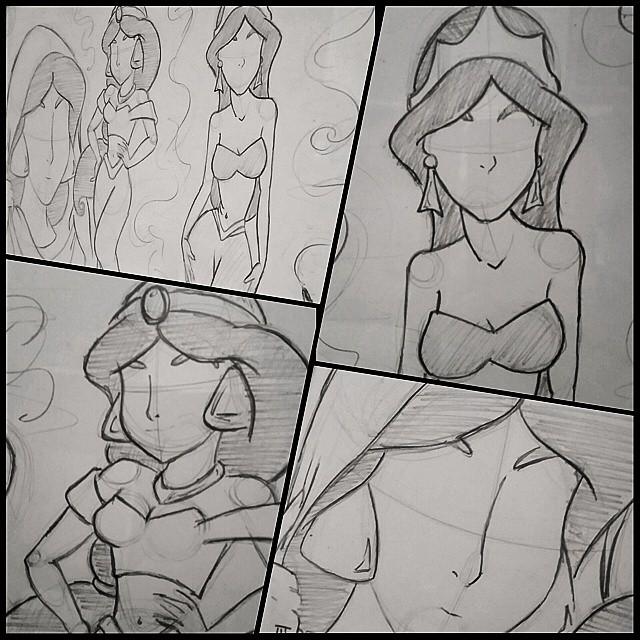 Jasmine sketch mural by jmnettlesjr