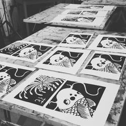 Koi Fish + Chrysanthemum Linocut Prints