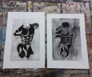 Figure Drawing Collagraph Prints