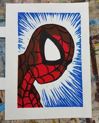 Spiderman Linocut Print