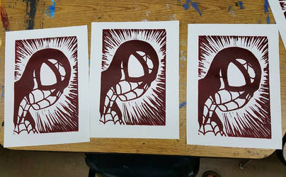 Spiderman Linocut Print | single color
